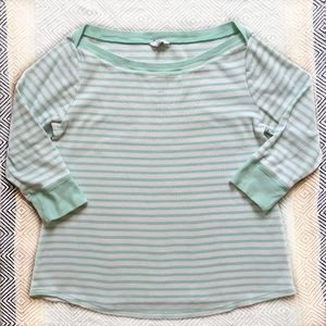 Crown & Ivy ribbed, boatneck, striped cotton tee